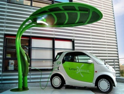 image of leaf solar energy charge car
