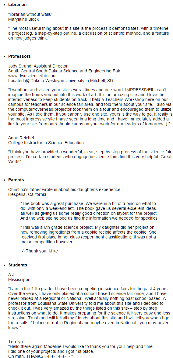image of science fair testimonials