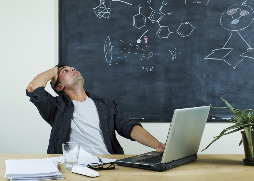 image of overwhelmed engineering science teacher
