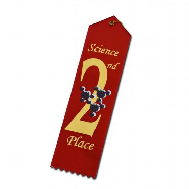 Atom Science Fair Ribbon 2nd Place Red