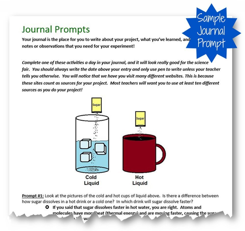 Journal Prompt for Glowing Detective Chemistry Science Fair Project Kit