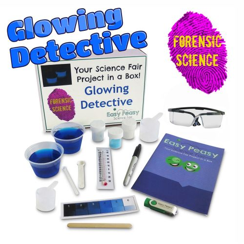 Glowing Detective Chemistry Science Fair Project Kit w/Luminol