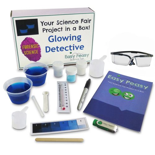 Glowing Detective Chemistry Science Fair Project Kit Parts