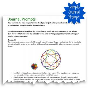 Super Polymers Science Fair Project Kit Journal