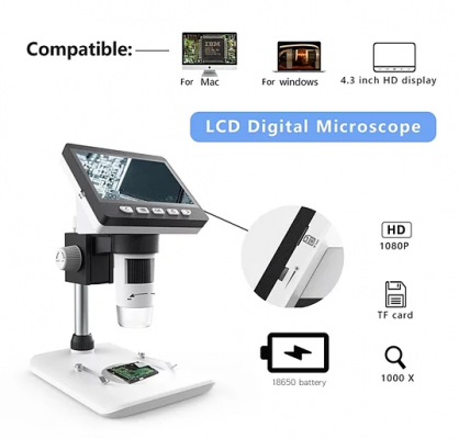 Digital Microscope with LCD Monitor Accessory Kit Included