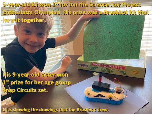 5 yrs old Eli w/Brushbot he put together