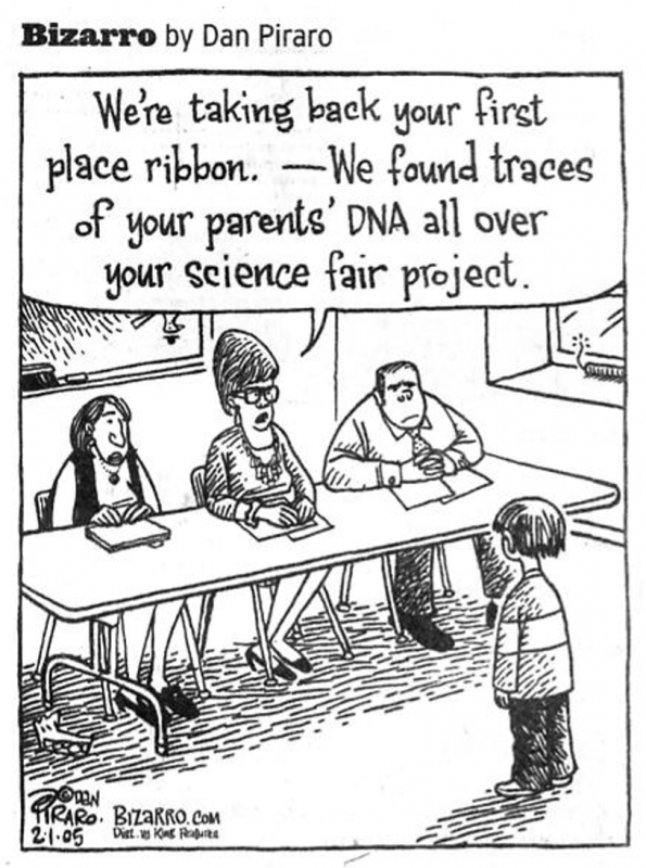 Science Fair Parents DNA Cartoon